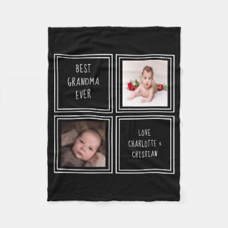 Design Your Own Personalized 2 Photo And Text Fleece Blanket