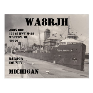Design Your Own QSL HAM Radio Operator Freighter Postcard