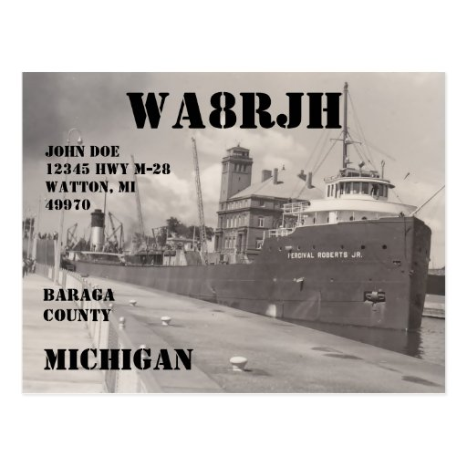 Design Your Own QSL HAM Radio Operator Freighter Postcards