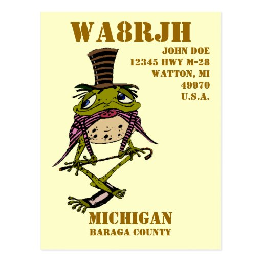 Design Your Own QSL HAM Radio Operator Op Frog Postcards
