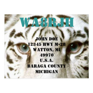 Design Your Own QSL HAM Radio Ops Card Tiger Eyes Postcard