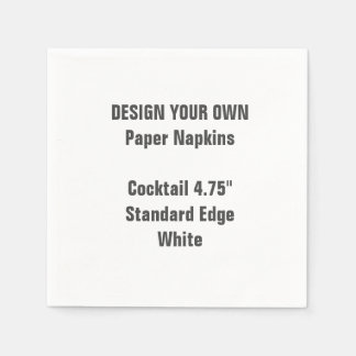 Design Your Own Small WHITE Cocktail Paper Napkins