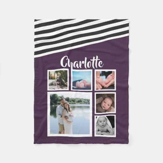 Design Your Own Unique Personalised Purple Striped Fleece Blanket