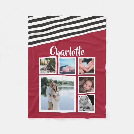 Design Your Own Unique Personalised Red Striped Fleece Blanket