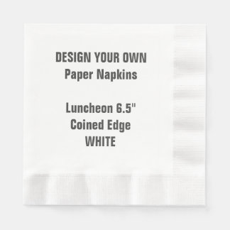 Design Your Own WHITE Coined Luncheon Paper Napkin
