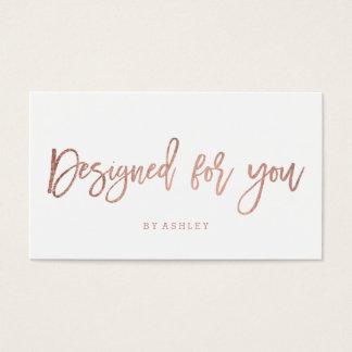 Designed for you elegant rose gold typography business card