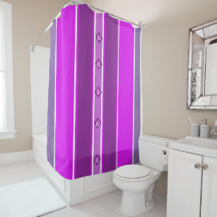 Designed In Shades Of Purple Striped Shower Curtain