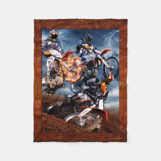 Designed motocross fleece blanket