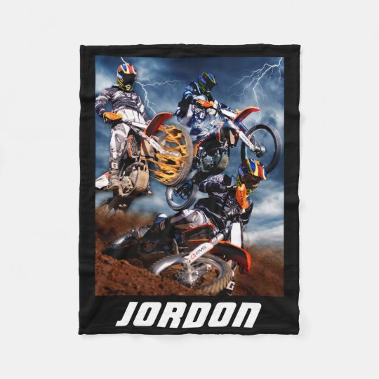 Designed motocross racing collage. fleece blanket