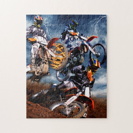 Designed motocross racing collage. jigsaw puzzle