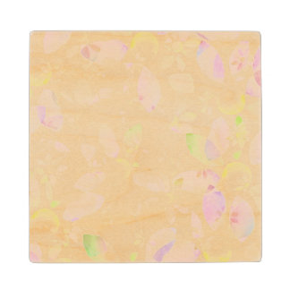 Designed watercolor flower background, texture wood coaster