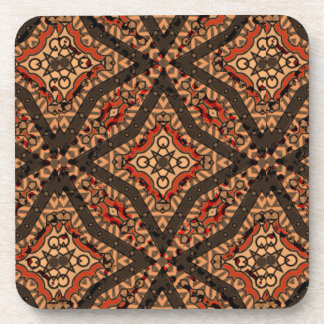 Designer abstract geometric tribal coaster set