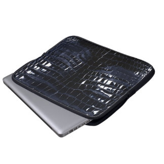 Designer Alligator Crocodile Skin Shiny Navy Blue Laptop Sleeve