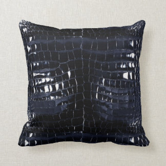 Designer Alligator Crocodile Skin Shiny Navy Blue Throw Pillow