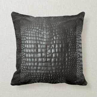 Designer Alligator Skin Dark Grey Matte Cushion