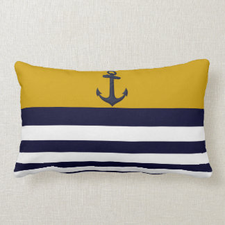 Designer Anchor Nautical Stripes Decorative Pillow