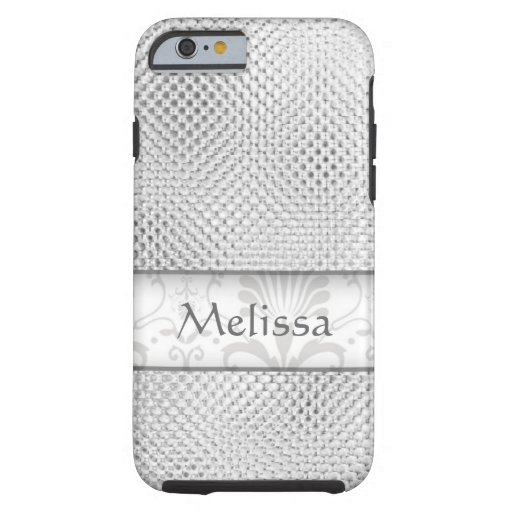Designer Bling Damask Pattern Personalized -Silver iPhone 6 Case