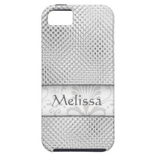 Designer Bling Damask Pattern Personalized -Silver iPhone 5 Case
