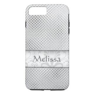 Designer Bling Damask Pattern Personalized -Silver iPhone 8 Plus/7 Plus Case