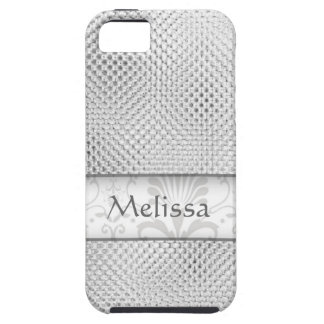 Designer Bling Damask Pattern Personalized -Silver Tough iPhone 5 Case