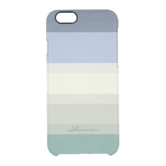 Designer Blue and Aqua Green striped clear Clear iPhone 6/6S Case