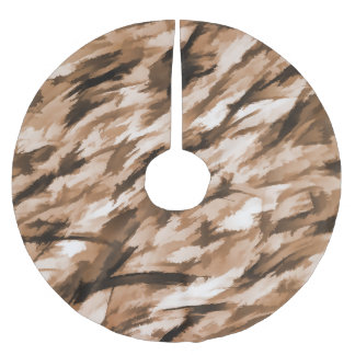 Designer Camo in Beige and Burnt Sienna Brushed Polyester Tree Skirt
