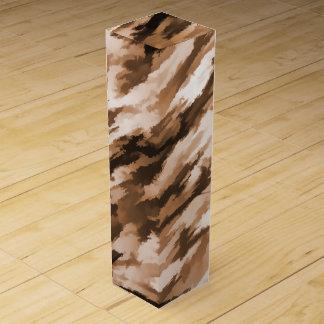 Designer Camo in Beige and Burnt Sienna Wine Gift Box