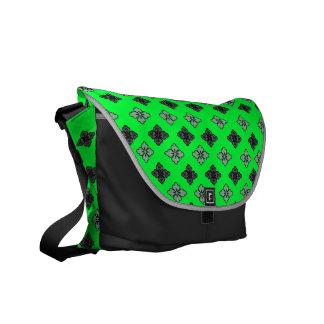 Designer Flower Neon Green Rickshaw Messenger Bag