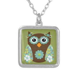 Designer Flower Owl Silver Plated Necklace