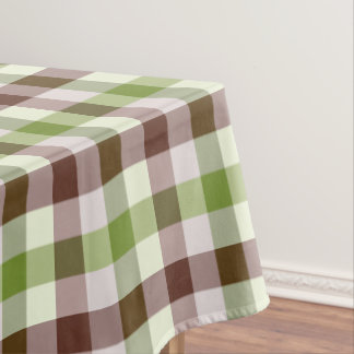 Designer gingham pattern green and brown tablecloth