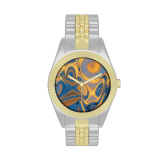 Designer Gold and Silver Watch - Abstract Art