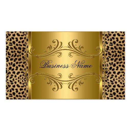 DEsigner Gold Black Leopard Animal Business Card Template