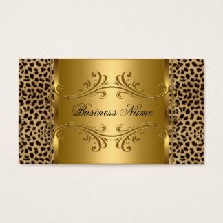 DEsigner Gold Black Leopard Animal Business Card
