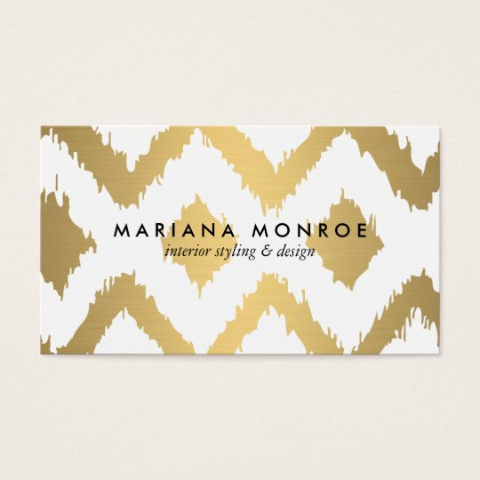 DESIGNER IKAT PATTERN in FAUX GOLD Business Card