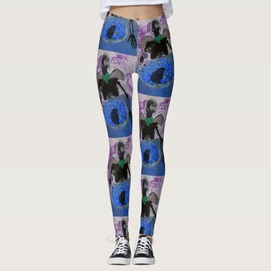 Designer Leggings, Blue, Lilac and Green skeletons Leggings