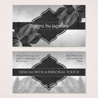 Designer Monochrome Blooms Business Card