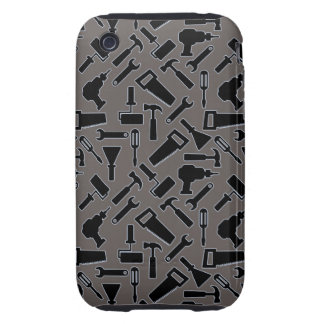 Designer monochrome DIY Tools Vector Pattern iPhone 3 Tough Covers