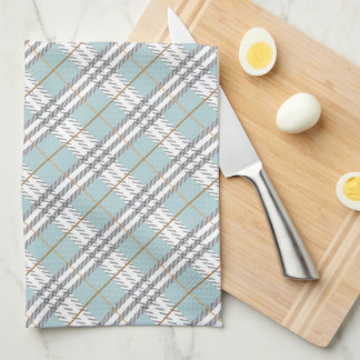 Designer Plaid Pattern Blue Grey Brown Tea Towel