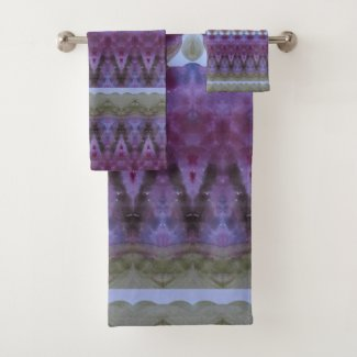 Designer Purple And Blue Modern Designed Towels