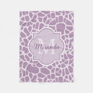 Designer Purple Monogram Giraffe Print and Name Fleece Blanket