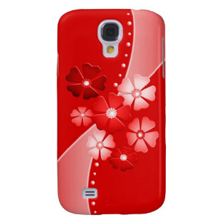DESIGNER RED AND WHITE FLORAL 3G PHONE XASE GALAXY S4 COVERS