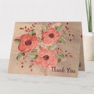 Designer Red Floral Thank You Card
