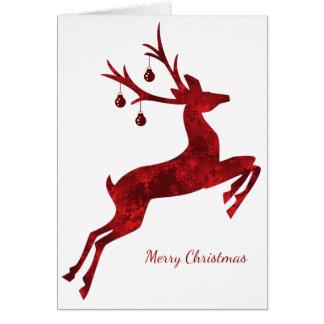 Designer Reindeer Christmas Card in Red