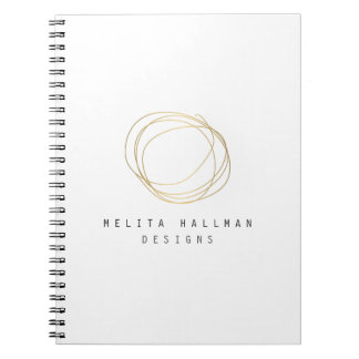 Designer Scribble Logo in Gold Notebook