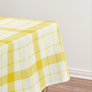Delightful Designer Tartan / Plaid Pattern Yellow Table Cloth