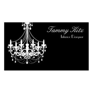 Designer White Black Chandelier Business Card Chic
