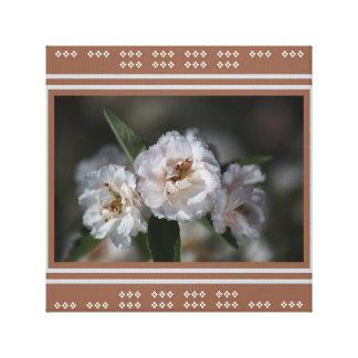 Designer White Crabapple Flowers by Bubbleblue Canvas Print