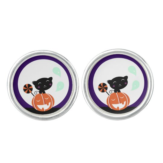 Designers cufflinks silver / with black Cat