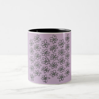 Designers mug : with Lavender folk flowers