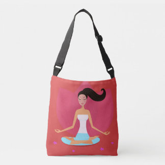 Designers red tote with Meditation girl